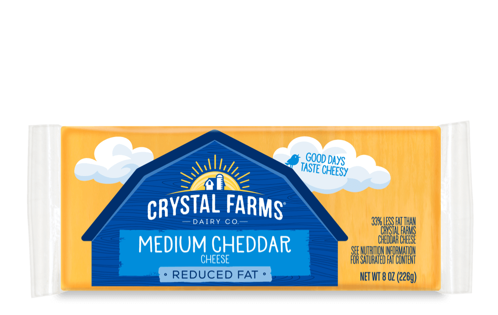 Cheddar_Crystal Farms Reduced Fat Medium Cheddar Cheese