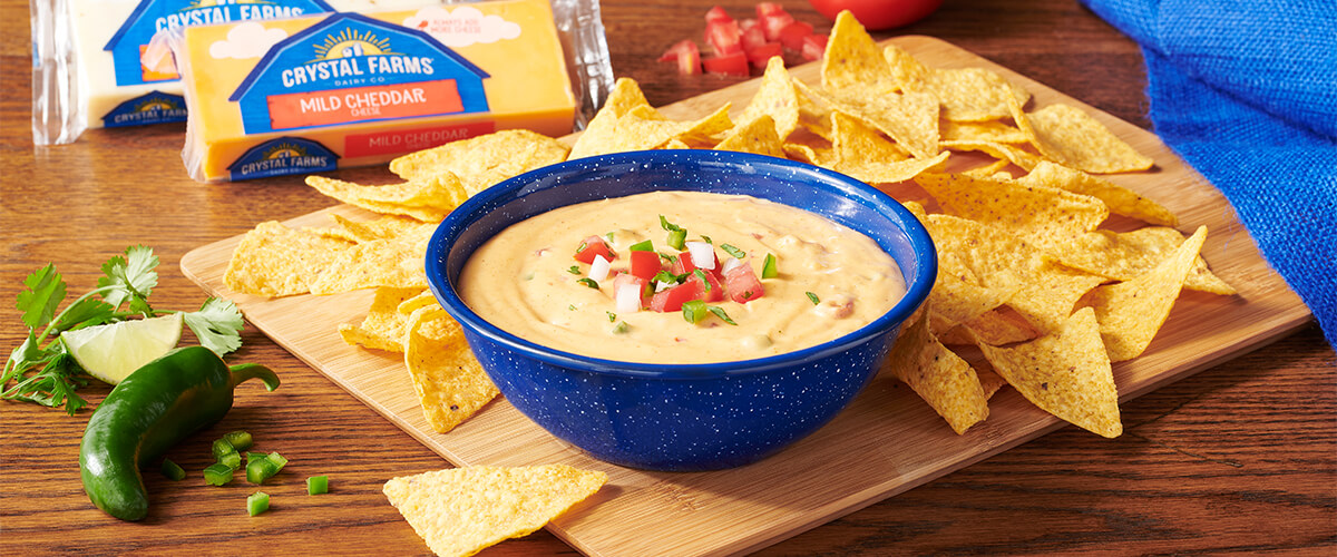 Bowl of Queso Dip on table